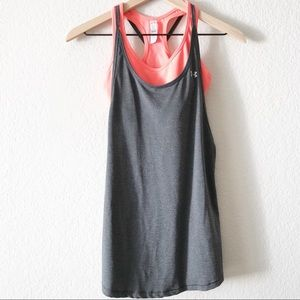 Under Armour gray tank with attached sports bra